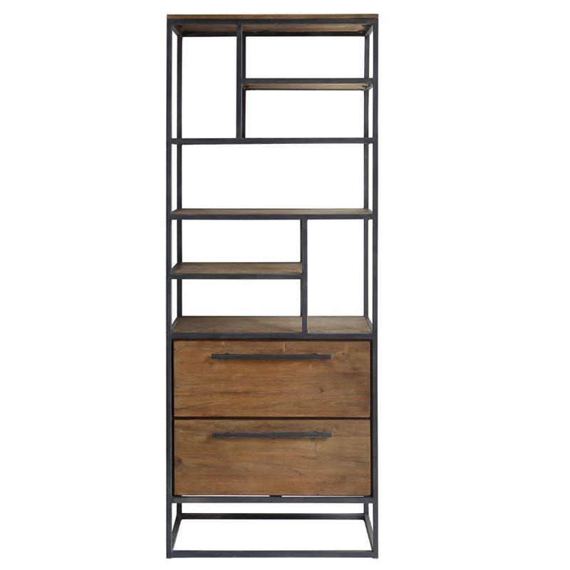Bibliothèque 2 tiroirs teck recyclé et métal d-bodhi SING 80cm