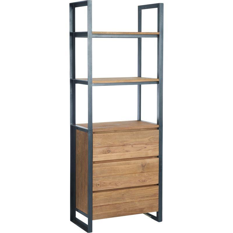 Bibliothèque 3 tiroirs teck recyclé et métal d-bodhi SING 75cm