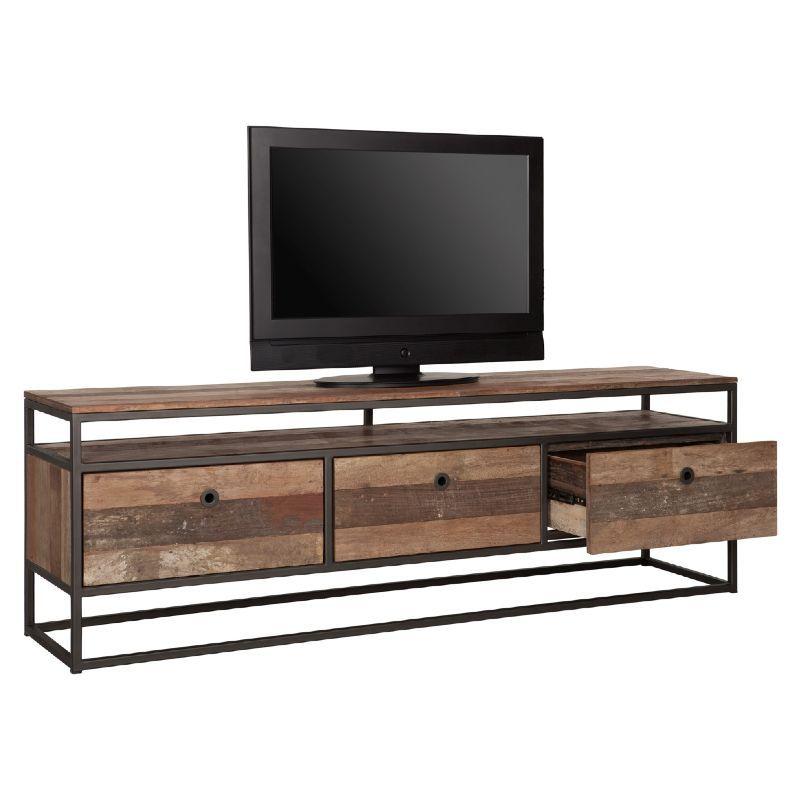 Meuble TV 3 tiroirs bois recyclé et métal d-bodhi RING 175cm