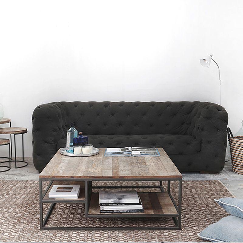 Table basse carrée bois recyclé et métal d-bodhi RING 75cm