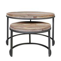 Tables basses gigognes bois recyclé et métal d-bodhi RING 80cm