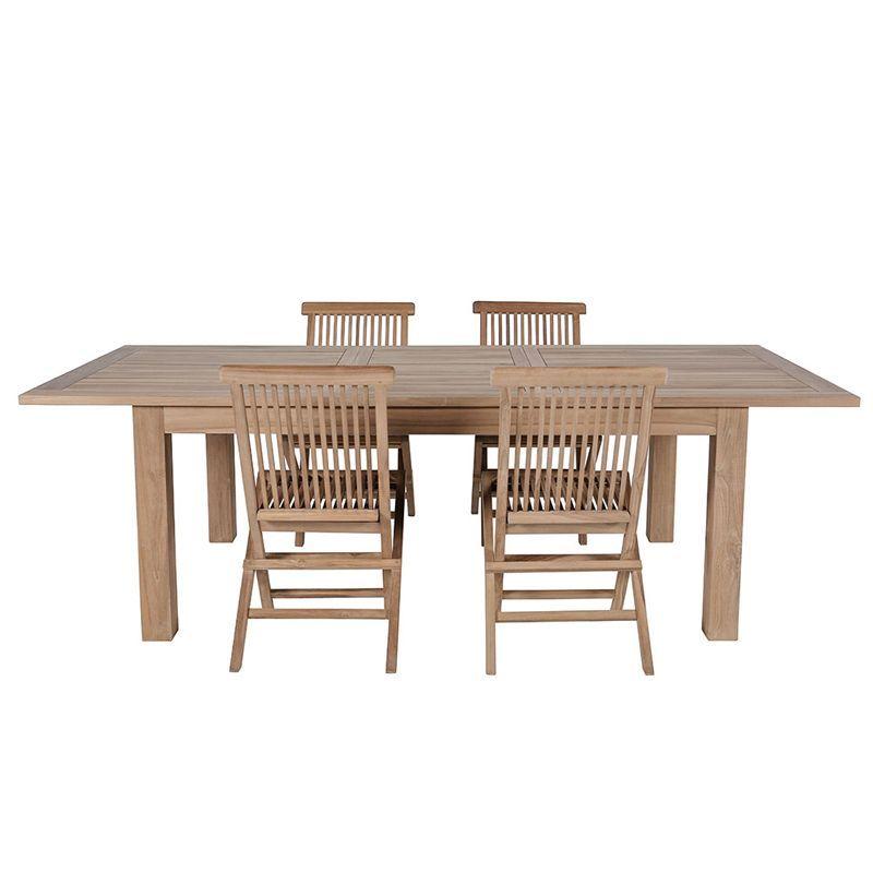 Salon de jardin teck table rectangulaire 180/240cm 4 chaises GARDEN