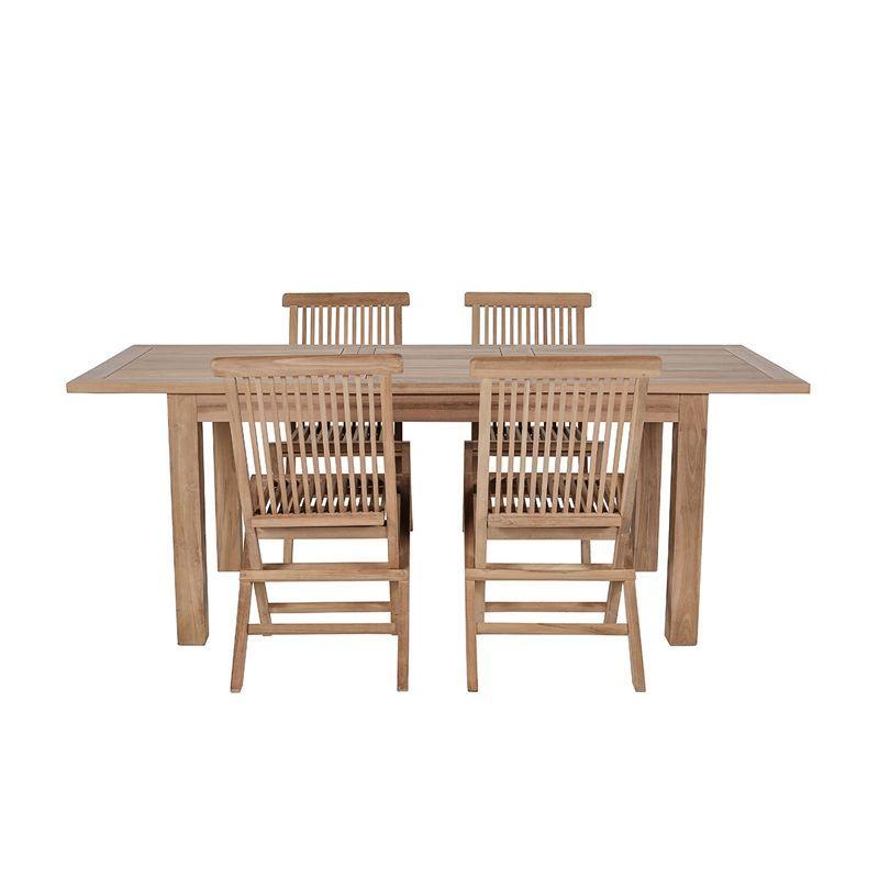 Salon de jardin teck table rectangulaire 150/200cm 4 chaises GARDEN