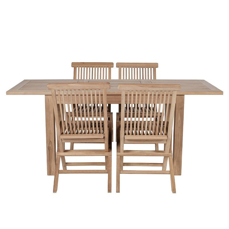 Salon de jardin teck table rectangulaire 120/180cm 4 chaises GARDEN