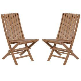 Lot de 2 chaises pliantes teck massif GARDEN modèle C
