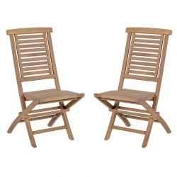 Lot de 2 chaises pliantes teck massif GARDEN modèle B