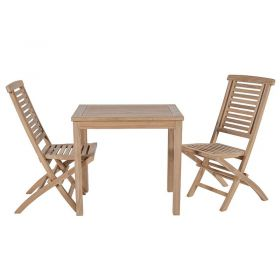 Ensemble de balcon teck table carrée 80cm 2 chaises GARDEN
