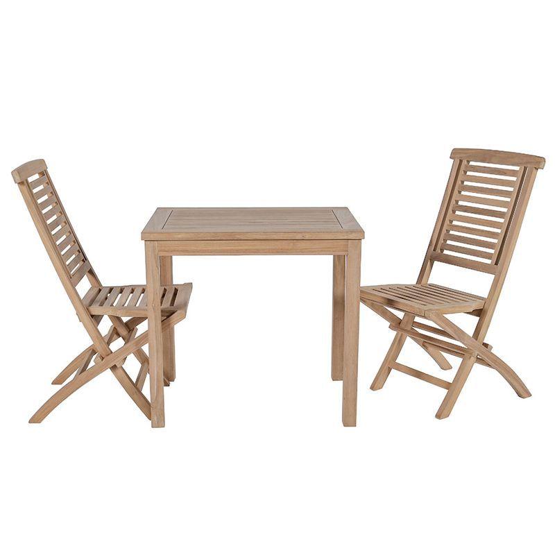 Ensemble de balcon teck table carrée 80cm 2 chaises GARDEN