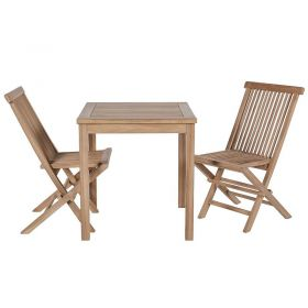 Ensemble de balcon teck table carrée 70cm 2 chaises GARDEN