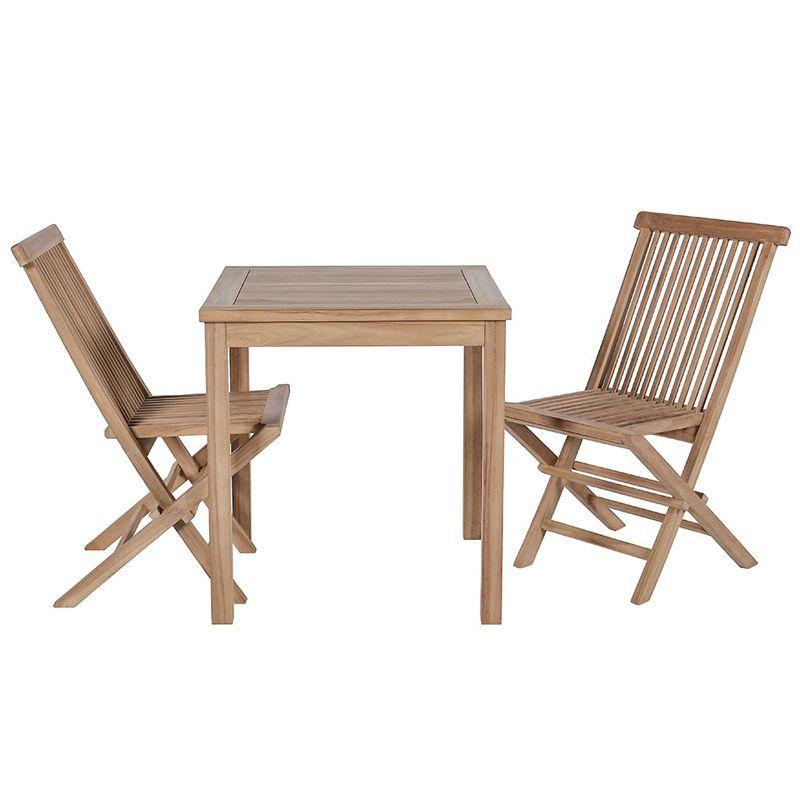 Ensemble de balcon teck table carrée 70cm 2 chaises GARDEN