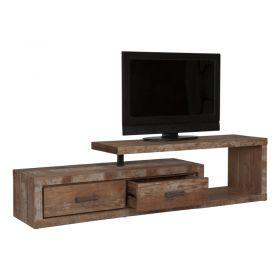 Meuble TV en bois de teck verni 2 tiroirs 1 niche gauche 175cm MIND D-Bodhi