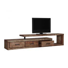 Meuble TV teck et métal 3 tiroirs 1 niche gauche 225cm MIND D-Bodhi