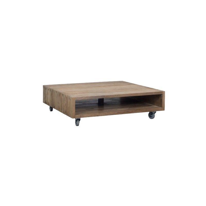 Table basse carrée sur roues teck teinté 120cm WANG D-Bodhi