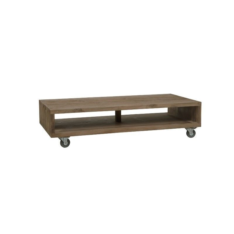 Table basse rectangle sur roues teck teinté 140cm WANG D-Bodhi