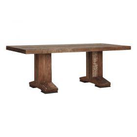 Table repas teck verni 2 pieds 220cm MIND D-Bodhi