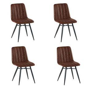 Lot de 4 chaises tissu marron CHA 230HAV