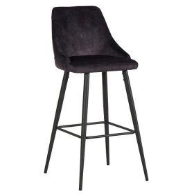 Lot de 2 chaises bar anthracite velours CASITA CHABARLOU3ANT en fer et tissu