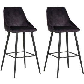 Lot de 2 chaises de bar CASITA CHABARLOU3ANT en fer et tissu