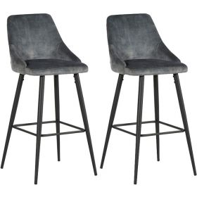 Lot 2 chaises de bar velours CASITA CHABARLOU3GRI