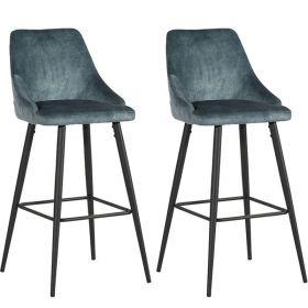 Lot 2 chaises de bar velours CASITA CHABARLOU3PET