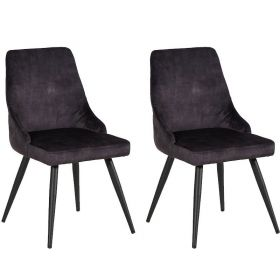 Lot 2 chaises velours CASITA CHACAS2ANT anthracite