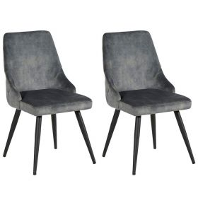 Lot 2 chaises velours CASITA CHACAS2GRI gris