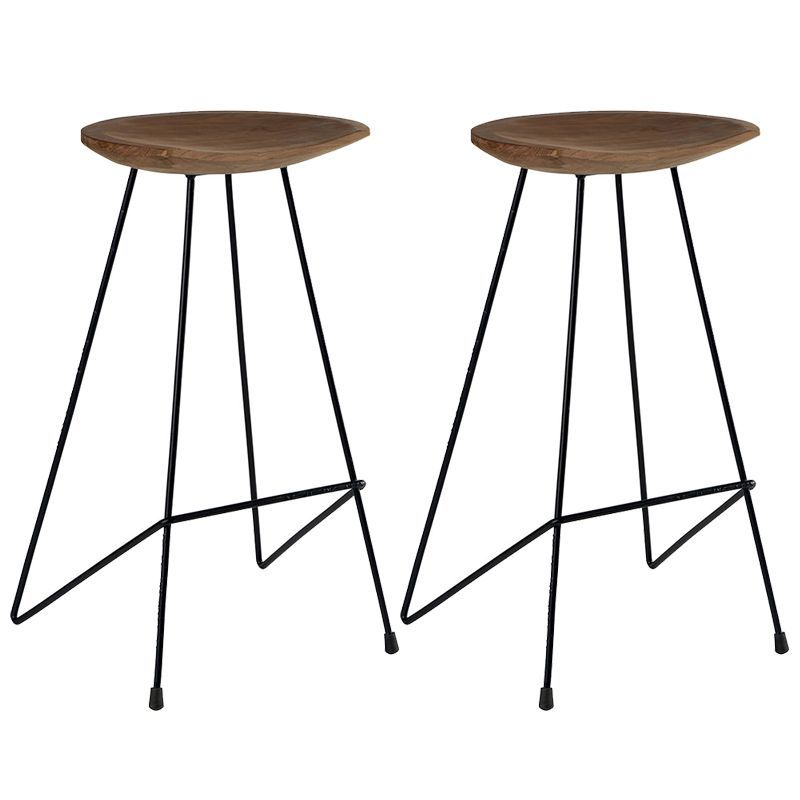 Lot de 2 tabourets de bar teck massif Casita BENTABOUHT