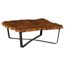 Table basse carrée Casita PALATABA 10 en teck recyclé pied métal