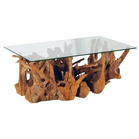 Table basse racine de teck 120cm Roots Casita ROOTABA12070V avec verre
