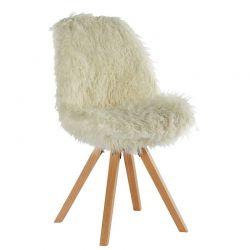 Lot de 2 chaises fourrure blanche Casita CHAASPFOUBL