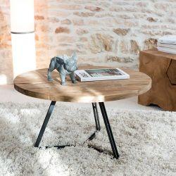 Table basse teck et métal noir 75cm SWIN d-bodhi