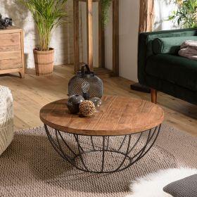 Table basse ronde bois métal noir 80cm SWIN d-bodhi