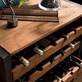 Rangement à vin teck industriel d-bodhi RING 75cm