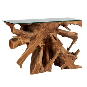 Console en racine de teck 120cm Roots Casita ROOCONVIT4012 avec verre