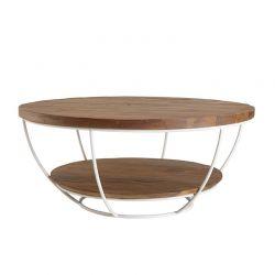 Table basse industrielle teck et métal blanc d-bodhi SING 80cm