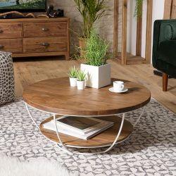 Table basse ronde teck et métal blanc d-bodhi SING 80cm