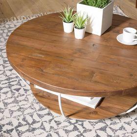 Table basse teck et métal blanc d-bodhi SING 80cm