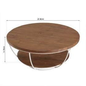 Table basse ronde bois recyclé blanc d-bodhi SING 80cm