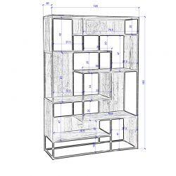Bibliothèque industrielle bois recyclé et métal d-bodhi RING 120cm