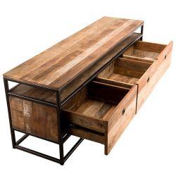 Meuble TV 3 tiroirs bois recyclé 150cm Macabane ALIDA