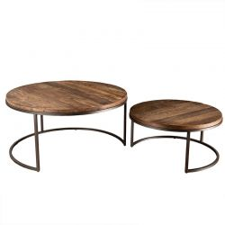 Tables basses gigognes bois et métal 80cm Macabane ALIDA