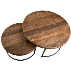 Tables basses gigognes bois et fer 80cm Macabane ALIDA