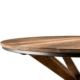 Table ronde bois salle à manger 130cm Macabane ALIDA