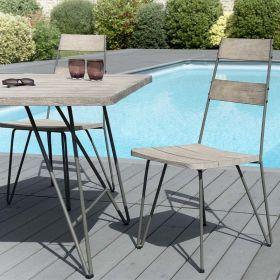 Lot 2 chaises jardin teck teinté grisé et métal  Macabane HYANCINTE modèle scandi