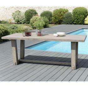 Table jardin teck grisé 200x90 cm Macabane HYANCINTE Bois