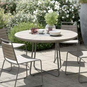 Table jardin teck grisé Ø120cm Macabane HYANCINTE Ronde
