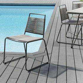 Lot 2 chaises jardin métal et cordage synthétique Macabane HYANCINTE