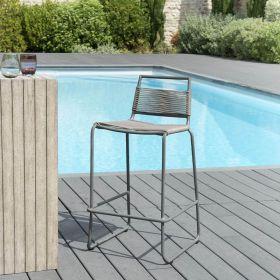 Chaise de bar jardin en métal et cordage synthétique  Macabane HYANCINTE