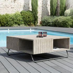 Table basse jardin teck teinté grisé et métal  Macabane HYANCINTE