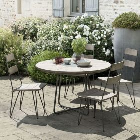 Ensemble de jardin teck grisé 4/6 pers Ø120cm Macabane HYANCINTE chaises scandi